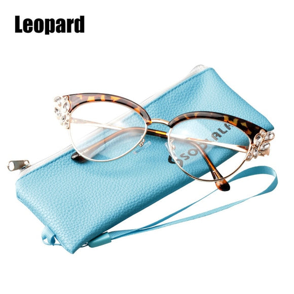 Rhinestones Cat Eye Reading Glasses