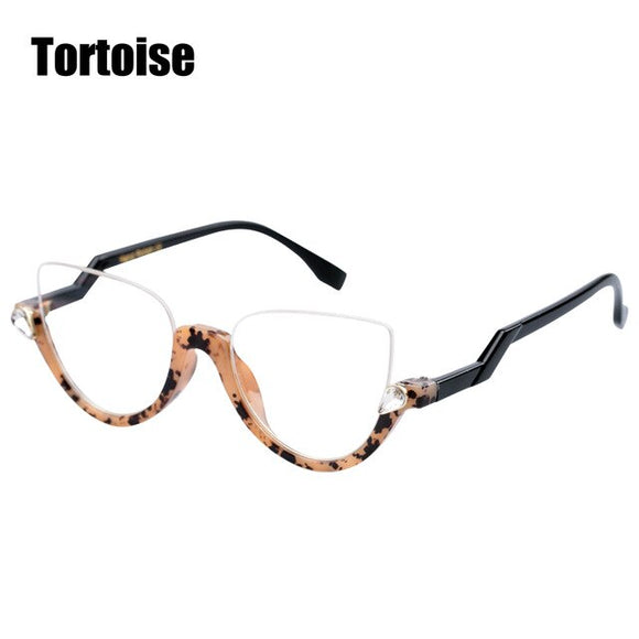 Semi-rimless Cat Eye Reading Glasses