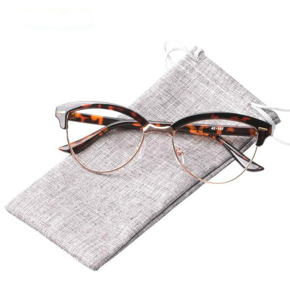 Clssic Semi-rimless Cat Eye Reading Glasses
