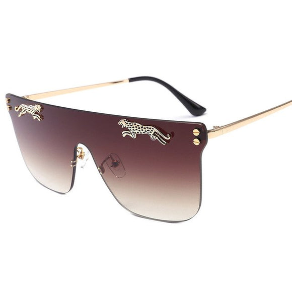 New Arrival Fashion Oversized Leopard Decoration Square Rimless Sunglasses