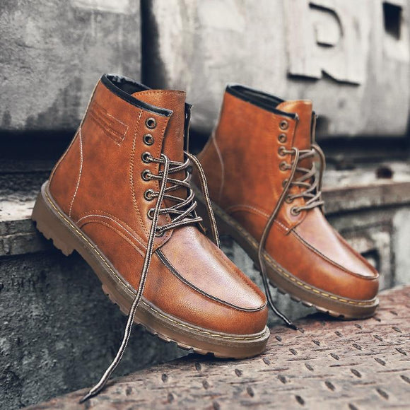 Men's Shoes - Fashion Vintage Style Leather Boots