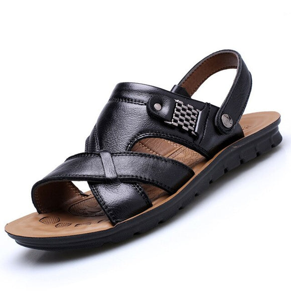 Vipupon Men's Quality Genuine Leather Comfortable Slip-on Brown Sandals