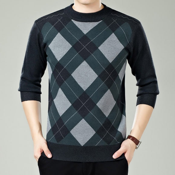 Slim Fit Pullover Classic Wool Knitted Plaid Sweaters