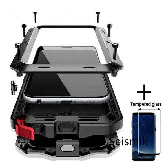 Vipupon Tempered glass Full Protective Luxury Doom Armor Metal Shockproof Cover For Samsung