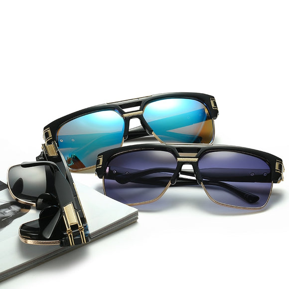 Rimless Style Retro Polygon Sunglasses