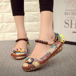 Top quality Casual Handmade Beaded Ankle Straps Loafers