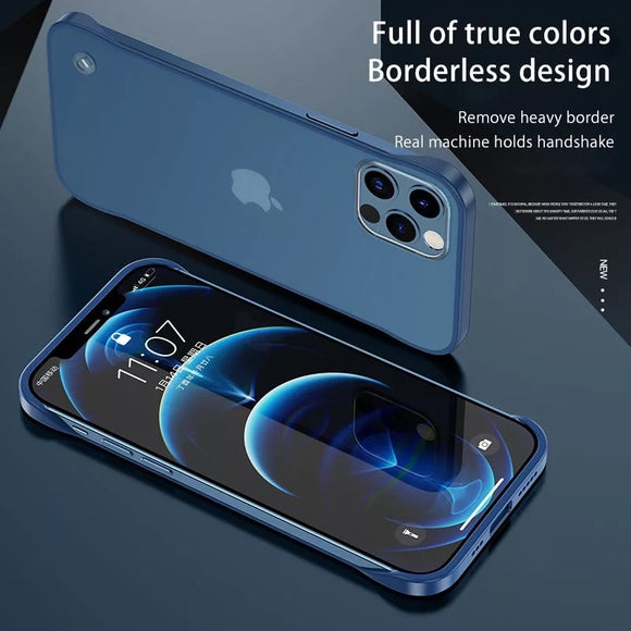 Ultra Thin Hard PC Frameless Case For iPhone With Ring Translucent