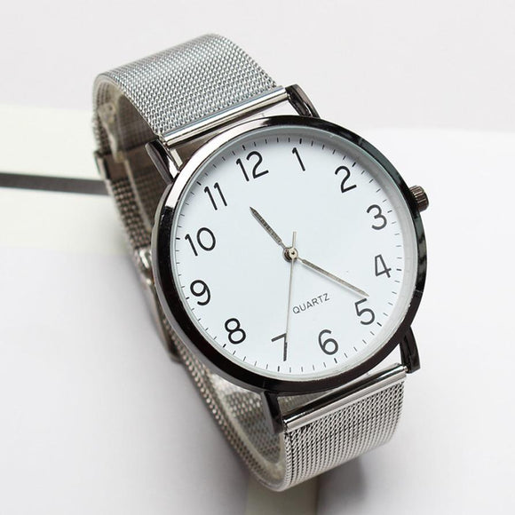 Unisex Simple Business Fashion Steel Strip Quartz Wrist Watch