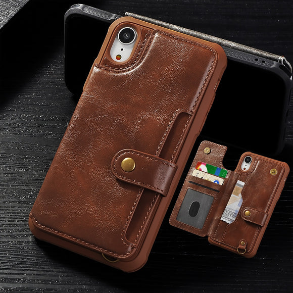 Vintage PU Leather Multi Card Holders Wallet Case For iPhone