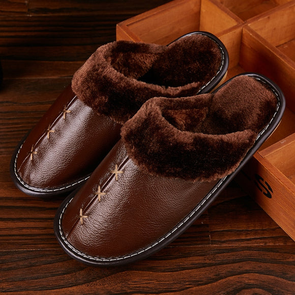 2020 New Warm Genuine Leather Slippers