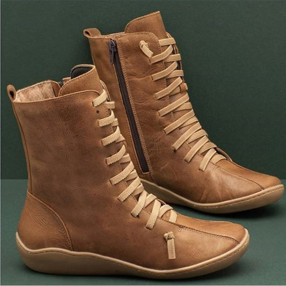 High Top Vintage Zipper Lace Up Ankle Boots