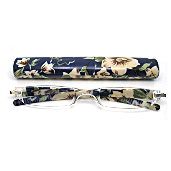 Women Flower Presbyopia Reading Glasses With Case