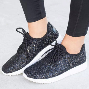 Bling Plus Size Lace-Up Sneakers