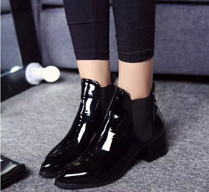 Elasticated Patent Leather Ankle Boots For Ladies