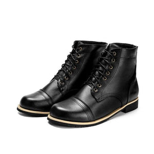 Men's Shoes - Fashion British Style Lace-up Motorcycle Boots