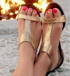 Ladies' peep toe Snake Skin Style T-strap Sandals