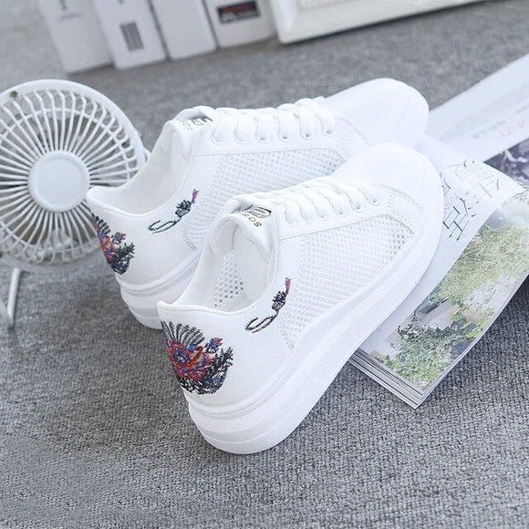 Embroidered Breathable Hollow Sneakers