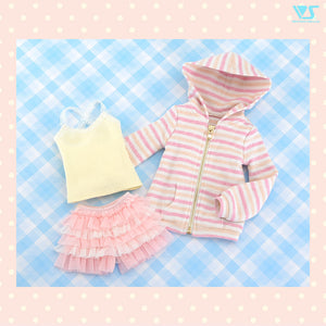 Fluffy Striped Hoodie Set
