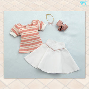 Pink Striped Top & White Skirt Set
