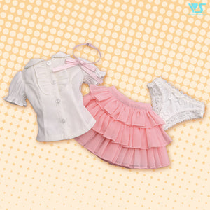 Ruffle Blouse Set (White / Pink)