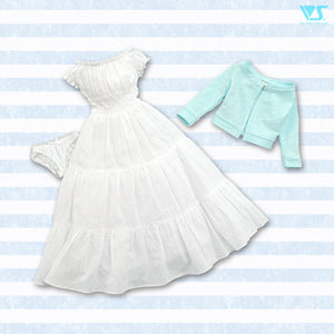 White Dress & Blue Cardigan Set