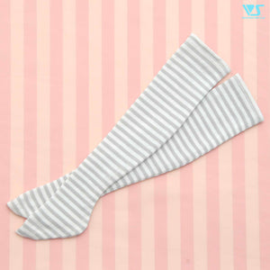 Thigh-High Socks (Gray & White Stripes)