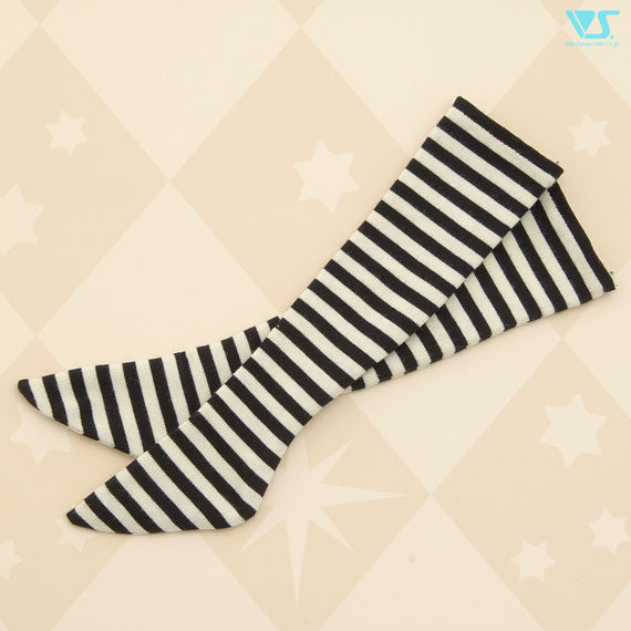 Thigh-High Socks (Off-white & Black Stripes)