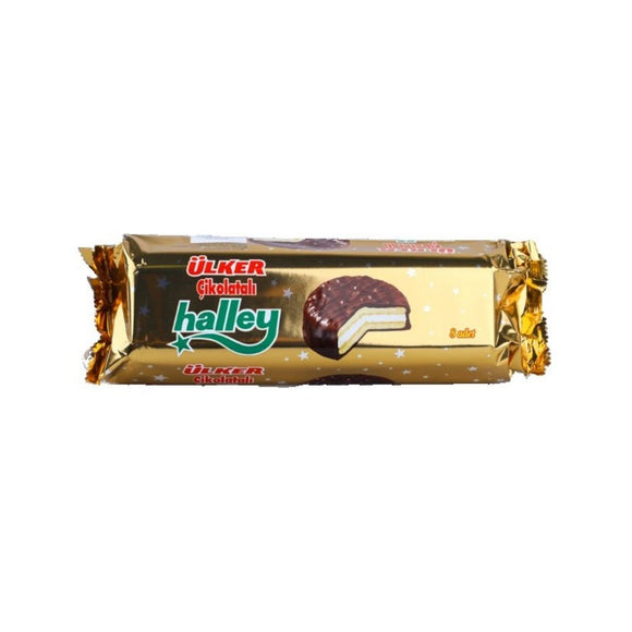 Ulker Halley Biscuits Marshmallow with Chocolate Coated (Cikolatali Biskuvi) 8 Pcs 240 G