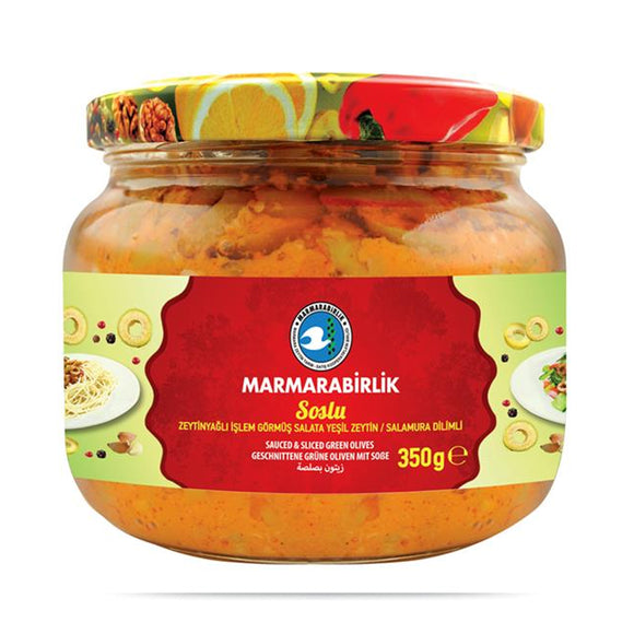 Marmara Birlik Sauced & Sliced Green Olives With Olive Oil (Soslu Zeytinyaglı Zeytin Salamura Dilimli) Turkish – 350gr