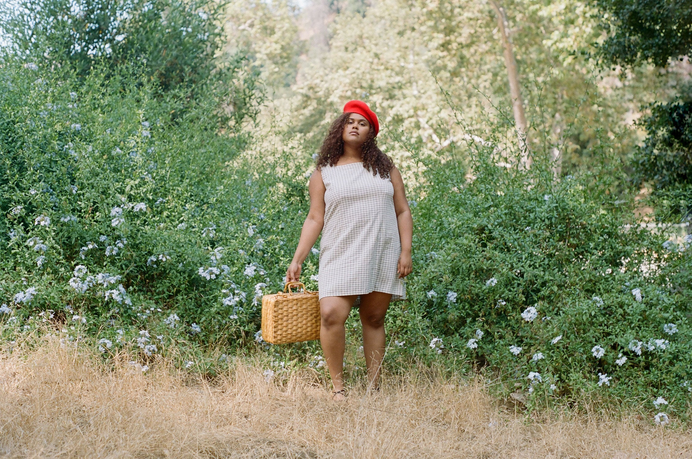 Plus size fashion model wearing vintage 1990s gingham dress with picnic basket
