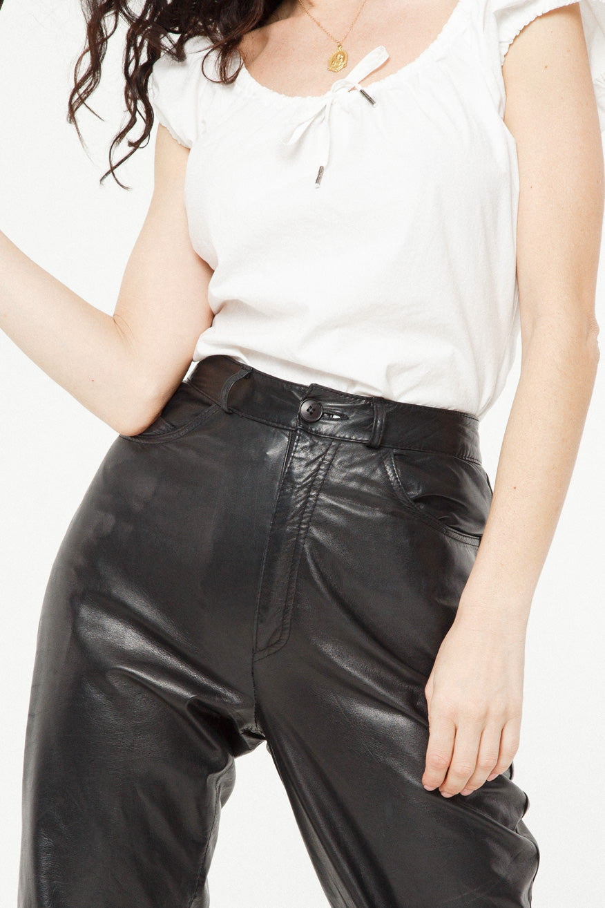 White Shirt in Leather Pant