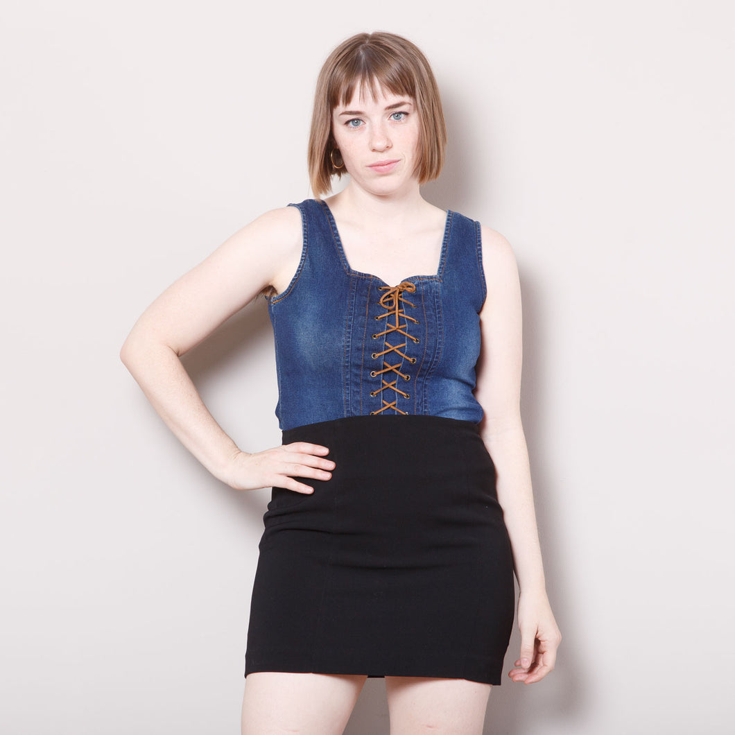 2000s Denim Lace Up Bodice Top