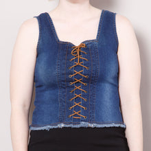 Load image into Gallery viewer, 2000s Denim Lace Up Bodice Top