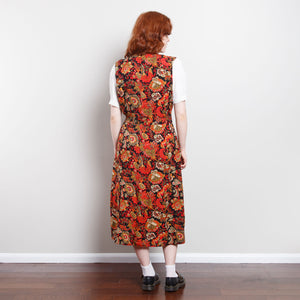 70s/80s Red Midi Floral Dress