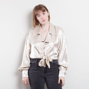 70s/80s Silky Ivory Cropped Button Up