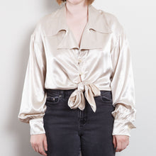 Load image into Gallery viewer, 70s/80s Silky Ivory Cropped Button Up