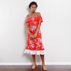 80s Off The Shoulder Tropical Dress