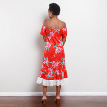Load image into Gallery viewer, 80s Off The Shoulder Tropical Dress
