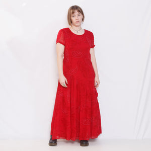 80s Red Silky Paisley Dress