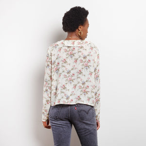 80s Sheer Floral Blouse