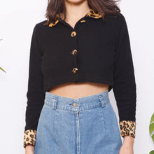 Load image into Gallery viewer, 80s/90s Cheetah Button Up Crop Top