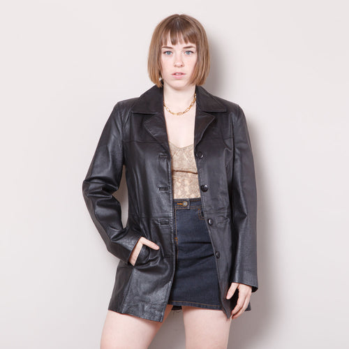 90s/2000s Leather Trench Coat