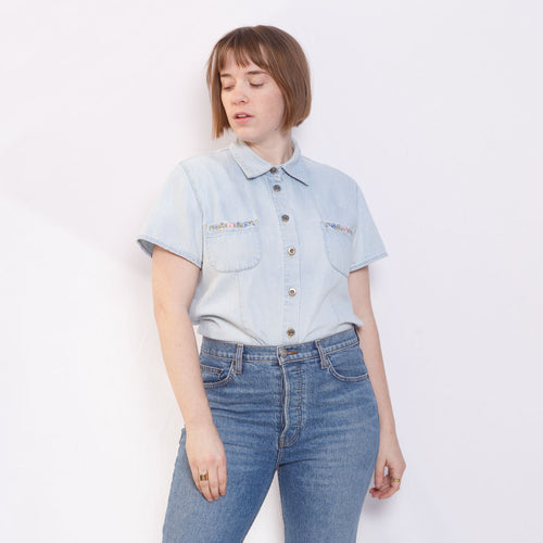 90s Button Up Denim Top