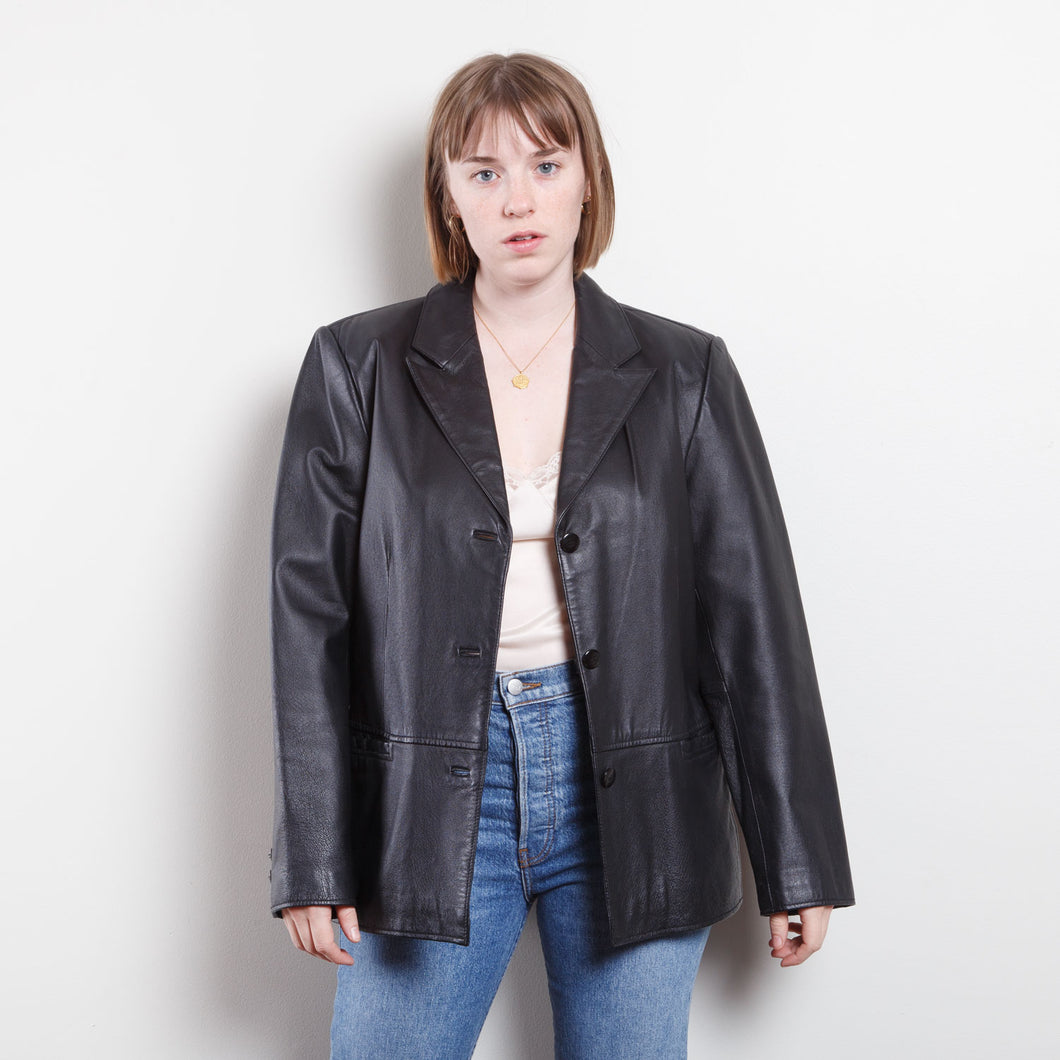 90s Clio Black Leather Trench Coat