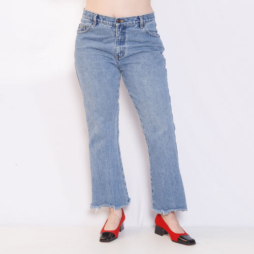 90s Flare Jeans with Raw Hem