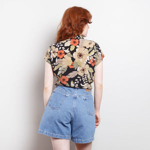 90s Floral Button Up Blouse