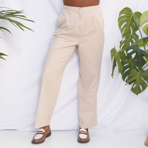 90s High Waisted Beige Trousers