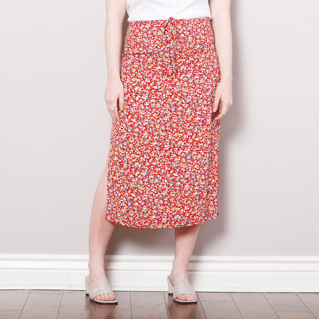 90s Midi Floral Skirt with Slits