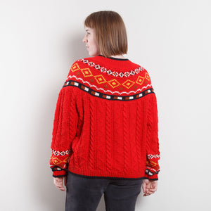 90s Red Western Knit