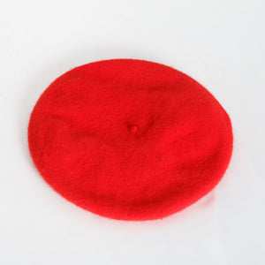 90s Red Wool Beret